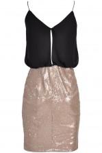 TFNC Annie Black Frill Sequin Dress
