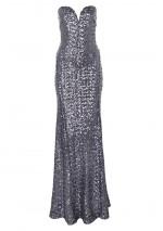 TFNC Gaynor Gunmetal Sequin Maxi Dress