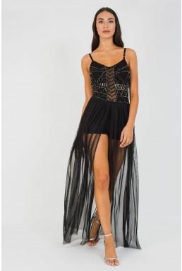 Lace & Beads Pihu Black Maxi Dress
