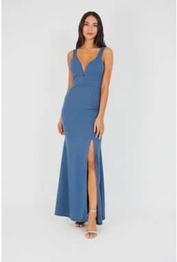 WalG Deep V Petrol Blue Maxi Dress