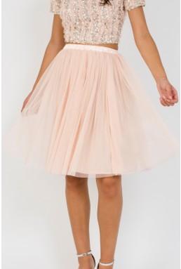 Lace & Beads Nude Tulle Midi Skirt