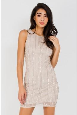 Lace & Beads Maderian Embellished Cream Mini Dress