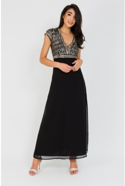 Lace & Beads Aaram Black Maxi Dress