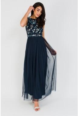 Lace & Beads Boudouir Navy Maxi Dress