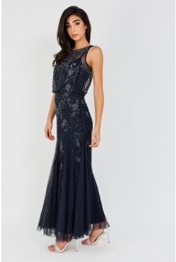 Lace & Beads Montana Embellished Navy Maxi Dress
