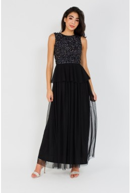 Lace & Beads Aura Black Embellished Maxi Dress