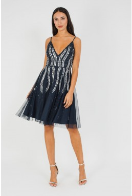 Lace & Beads Baroka Skater Navy Mini Dress