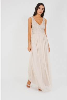 Lace & Beads Mulan Nude Maxi Dress
