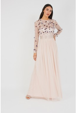 Lace & Beads Nivedita Nude Maxi Dress