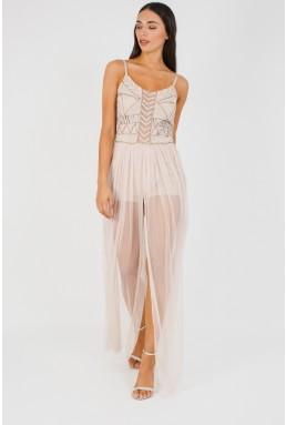 Lace & Beads Pihu Nude Maxi Dress