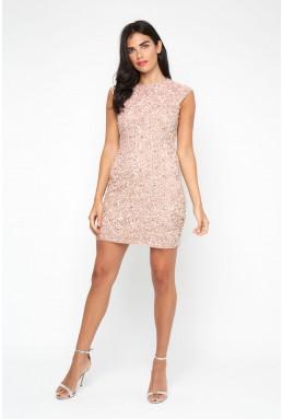Lace & Beads Teardrop Mink Sequin Dress