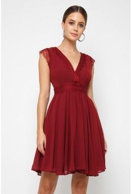 TFNC Perry Burgundy Midi Dress