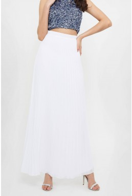 TFNC R22 White Maxi Skirt