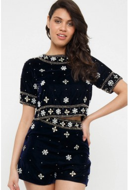 Lace & Beads Aia Velvet Navy Embellished Shorts