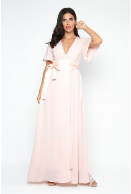 TFNC Omaria Peach Blush Maxi Dress