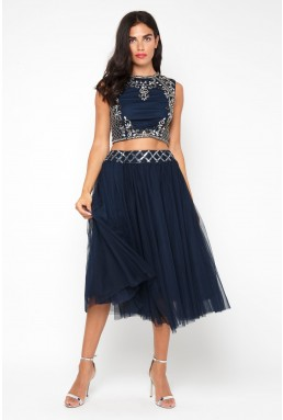 Lace & Beads Noorie Navy Top