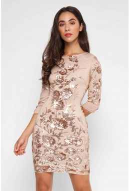 TFNC Paris Floral Multi Sequin Dress