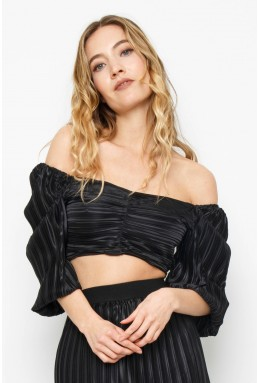 TFNC Elyna Black Crop Top