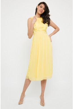TFNC Neicy Pastel Yellow Midi Dress