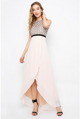 TFNC Leena Nude Hi-Lo Maxi Dress