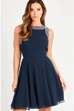 Lace & Beads Dunya Navy Skater Mini Dress
