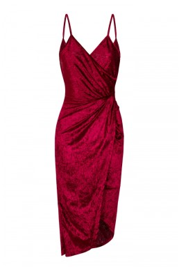 WalG Crushed Velvet Drape Back Berry Dress