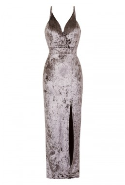 WalG Crushed Velvet Grey Maxi Dress