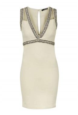 TFNC Deborah Nude Embellished Dress