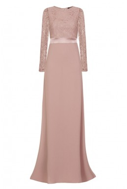TFNC Elly Lace With Sleeves Pale Mauve Maxi Dress