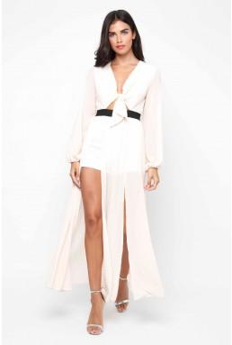 TFNC Zadora Nude Maxi Dress