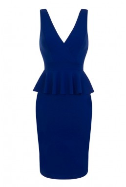 WalG V Neck Blue Frill Dress