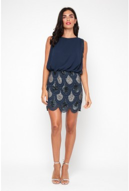 Lace & Beads Sharon Angela Navy Embellished Dress