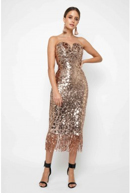 TFNC Saskia Rose Gold Midi Dress