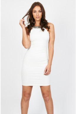 TFNC Riccocone White Embellished Dress