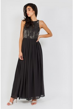 Lace & Beads Trudie Black Maxi Dress