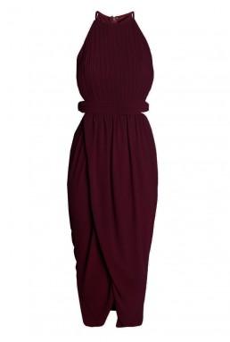 TFNC Serene Cut Out Wine Dress