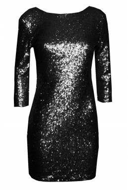 TFNC Paris V Back Black Sequin Dress
