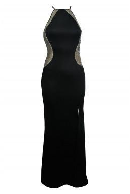 TFNC Sofia Black Sequin Maxi Dress