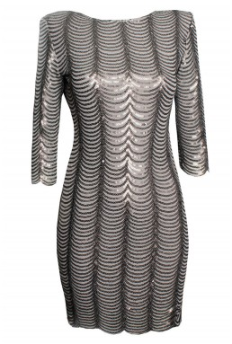 TFNC Brenna Bodycon Grey Sequin Dress