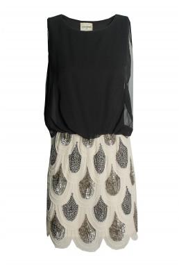 Lace & Beads Sharon Angela Black & Gold Embellished Dress