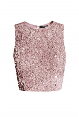 Lace & Beads Picasso Pink Sequin Top