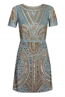 Lace & Beads Tara Grey Embellished Dress