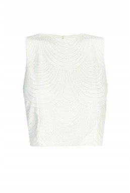 Lace & Beads Opal Penny White Top