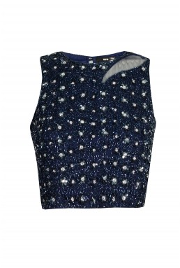 Lace & Beads Zoe Navy Top