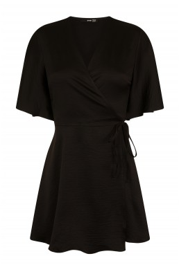 TFNC Dorysa Black Mini Wrap Dress