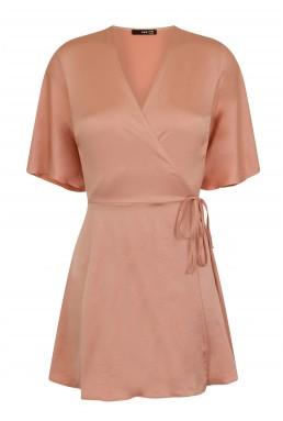 TFNC Dorysa Pink Mini Wrap Dress