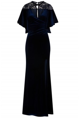 TFNC Diyana Velvet Navy Maxi Dress