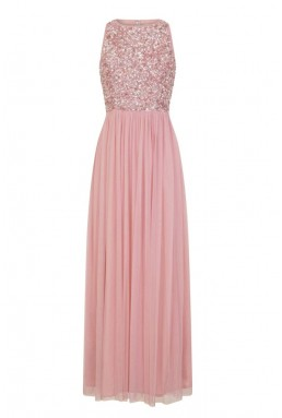 Lace & Beads Picasso Rose Pink Embellished Maxi Dress