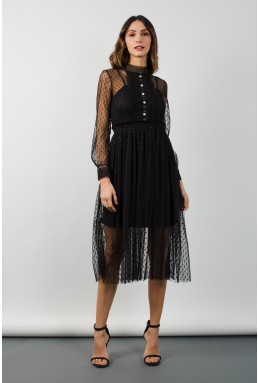 TFNC Blandine Black Midi Dress