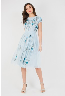Lace & Beads Nobu Midi Sky Blue Dress